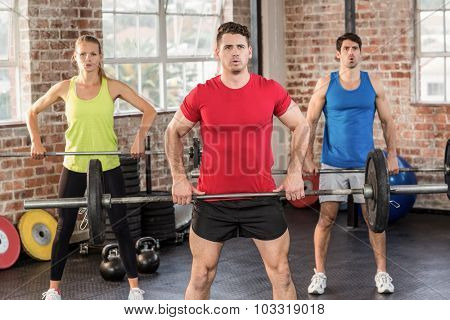 Muscular people lifting dumbbells in crossfit gym