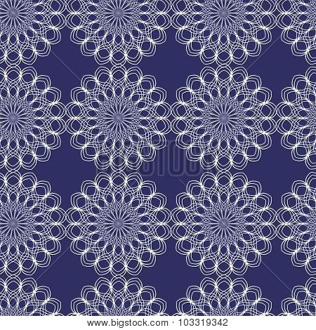 Vector seamless guilloche snowflakes background