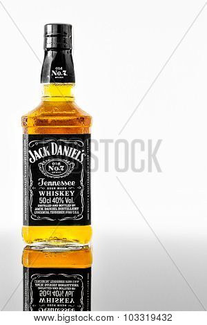 ZAGREB, CROATIA - JUNE 4 2015: A cold bottle of Jack Daniel's with condensation on a glass, standing