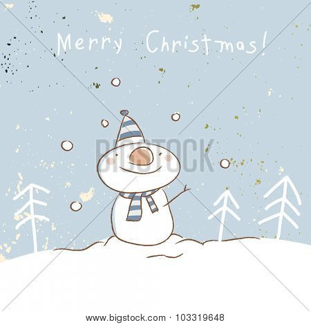 Christmas snowman, merry Christmas greeting card. Doodle style vector illustration.