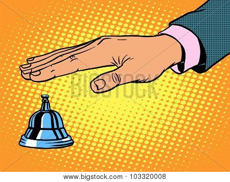 reception Desk call bell hand