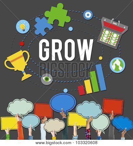 Grow Acheievment Success Development Goals Concept
