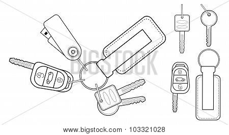 Set of realistic keys icons. Contour