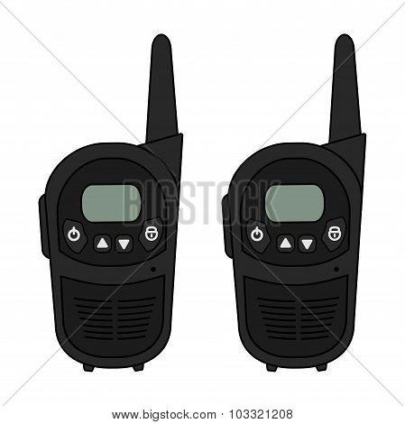 Two travel black vector radio set devices