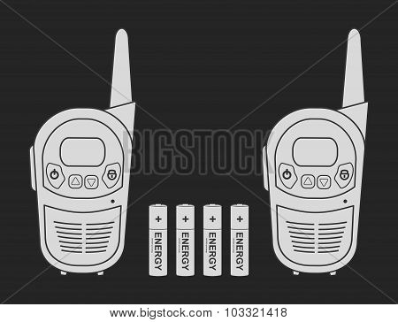 Travel radio set devices wit batteries. Chalk