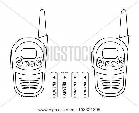 Travel radio set devices wit batteries. Contour