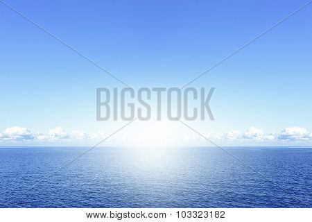 Blue sea and clouds.