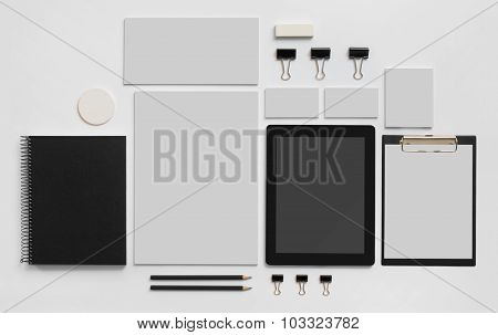 Mock-up branding template with tablet on white