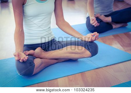 Cropped image of women doing lotus posture in fitness studio
