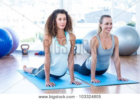 Women doing cobra pose in fitness studio