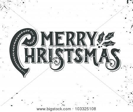 Merry Christmas Retro Poster With Hand Lettering