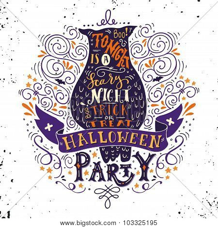 Halloween Party Poster With An Old Owl