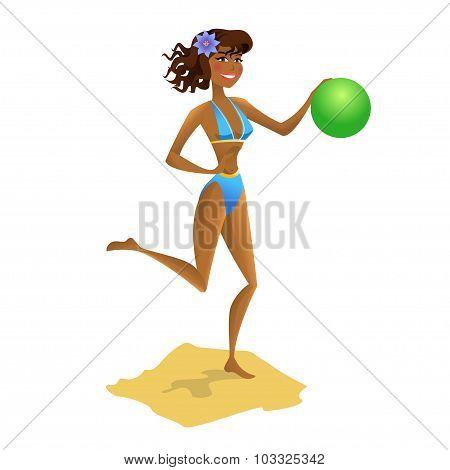 Girl With Ball On The Beach. Vector Illustration.