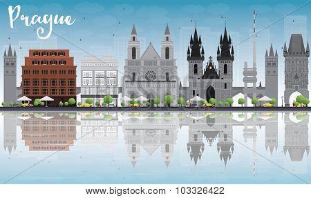 Prague skyline with grey landmarks, blue sky and reflections. Vector illustration