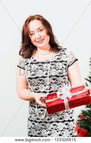 Woman with red gift box