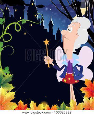 Fairy Godmother Near The Ancient Castle