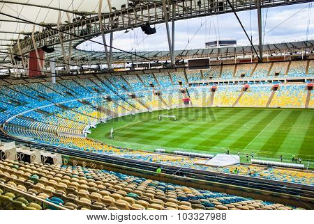 RIO DE JANEIRO - APRIL 27, 2015: Maracana football soccer stadium on April 27,2015, after two years of extensive renovation and reconstruction. Rio de Janeiro, Brazil.