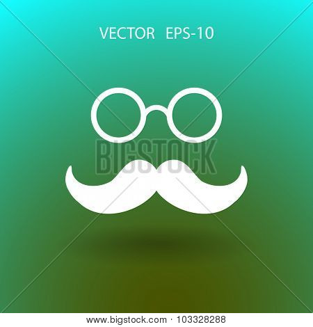 Hipster retro style mustache and eyeglasses icon, vector illustration