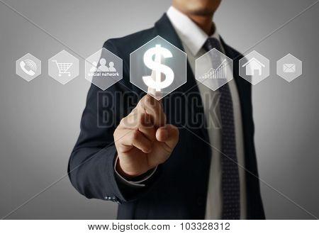 Man Hand pressing modern social button