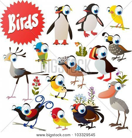 Adorable cartoon comic birds set: penguin, canary, quoll, fowl, jay, puffin, grouse, shoebill, parrot, bird of paradise, secretary bird, lovebird