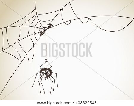 Halloween Sketch, Spider with big eyes on a web, Hand drawn illustration