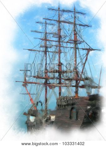 Old sail ship.