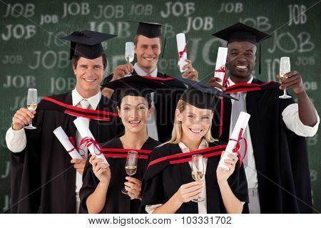 Group of people Graduating from College against green chalkboard