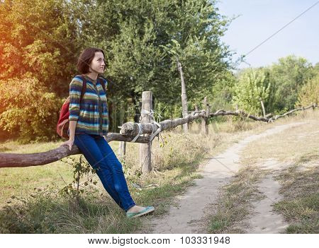 The Girl With The Backpack Traveling Alone.