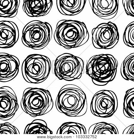 Vector Seamless Trendy Modern Circle Pattern. Monochrome Messy D