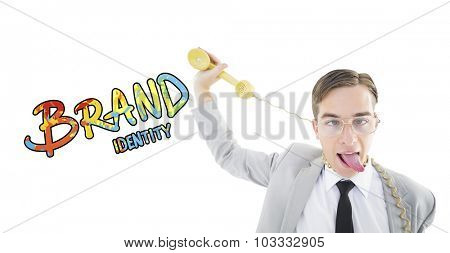 Geeky businessman being strangled by phone cord against brand identity