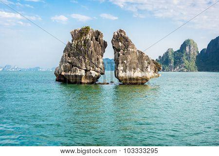The Kissing Rocks In Halong Bay, North Vietnam