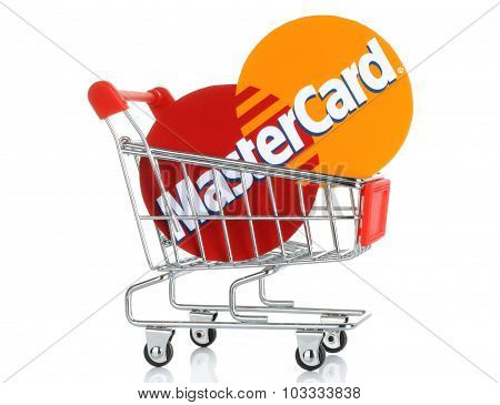 Mastercard logo printed on paper and placed into shopping cart