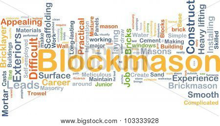 Background concept wordcloud illustration of blockmason