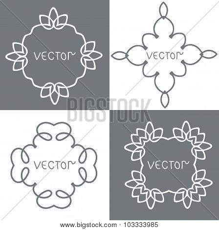 Floral outline frames and borders. Vector mono line graphic design templates.