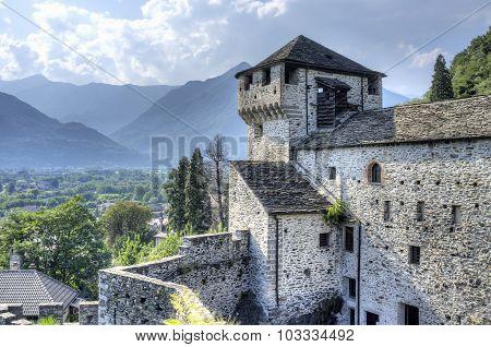 Vogogna (Ossola Valley, Piedmont): the Visconti castle. Color image