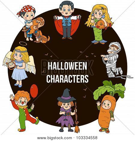 Vector Set Of Halloween Cute Characters, Cartoon Collection, Colorful Stickers With Children In Carn