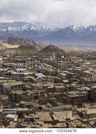 Leh Town In Ladakh Region Of India With Snow Mountain Background