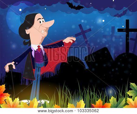 Old Vampire In The Night Cemetery