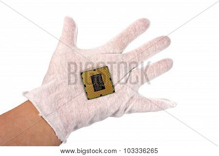 Electronic Collection - Computer Processor In Male Hand Isolated On White Background