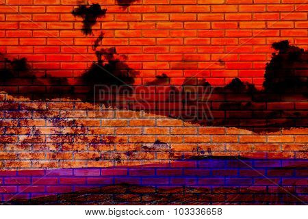 Halloween Background Brick Wall Reflect From The Hell Red Sky And Black Cloud