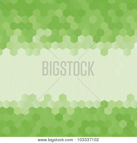 Green Abstract Geometric Rumpled Hexagon Background Low Poly Style