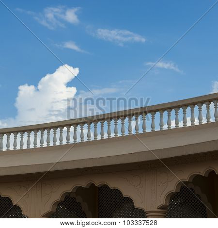 Classic old style balustrade railing on the terrace.