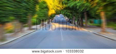 speed asphalt-paved road anchorwoman from a city