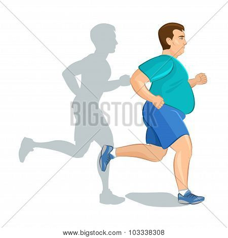 Illustration Of A Fat Cartoon Man Jogging, Weight Loss Concept, Cardio Training