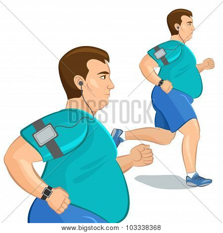 Jogging Fat Man, Loss Weight Cardio Training With Smart Device. Vector Illustration.