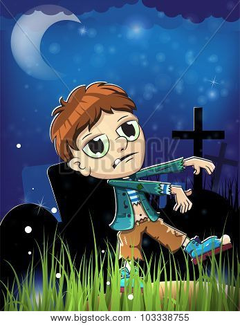Halloween Zombie  On A  Cemetery