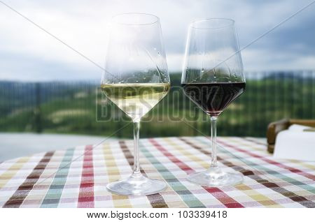 Glasses for wine tasting. Color image