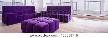 Bright Lounge With Purple Furniture