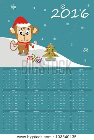 Calendar 2016 with cute monkey - Vector