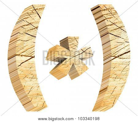 Parenthesis from pine wood alphabet set isolated over white. Computer generated 3D photo rendering.